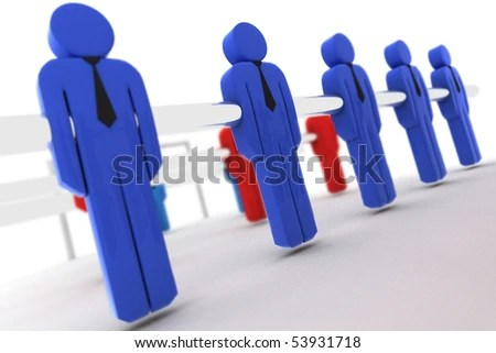 Example Teamwork By Table Football Players Stock Illustration