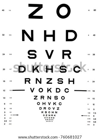 Eye Test Chart Comprises Rows Letters Stock Illustration 760681027