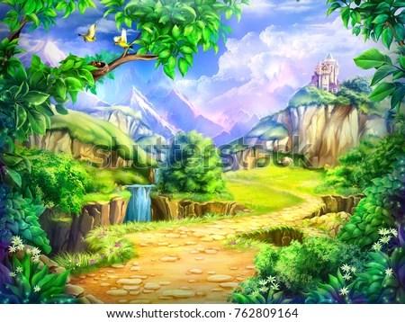 Lonely Little Girl Wallpapers Fairy Tale Cartoon Background Digital Art Stock