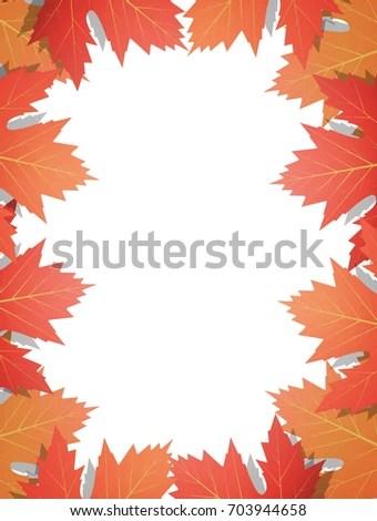 Fall Leaves Background Frame Maple Leaves Stock Illustration