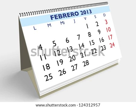 February Month Spanish Calendar Year 2013 Stock Illustration