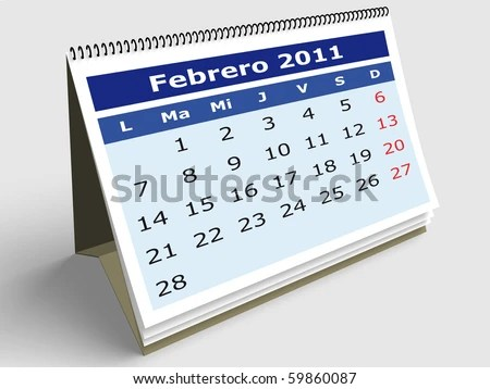 February Spanish Calendar 2011 3 D Render Stock Illustration