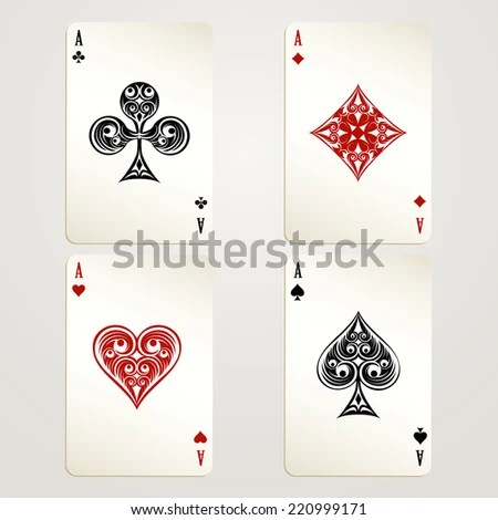 Royalty Free Stock Illustration of Four Aces Playing Cards Designs