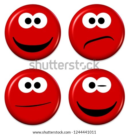 Royalty Free Stock Illustration of Four Emojis Good Bad Mood 3 D