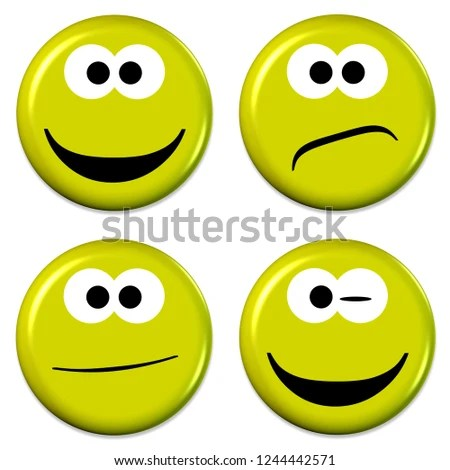 Four Emojis Good Bad Mood 3 D Stock Illustration 1244442571