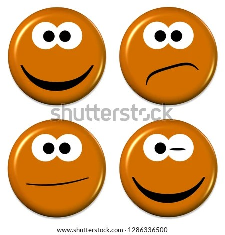 Royalty Free Stock Illustration of Four Emojis Good Bad Mood 3 D