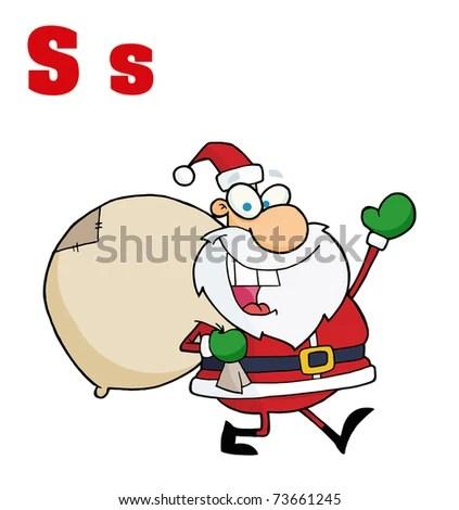 Funny Cartoons Alphabet Santa Letters S Stock Illustration - Royalty