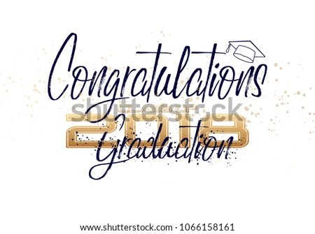 Graduation Label Text Graduation Design Congratulation Stock