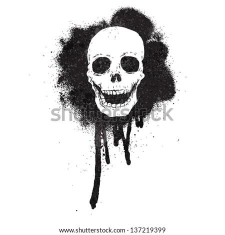 Graffiti Spray Paint Stencil Skull Stock Illustration 137219399