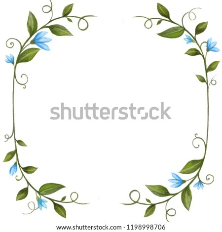 Hand Drawn Green Leaves Leaf Boarder Stock Illustration 1198998706