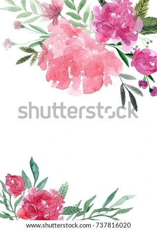 Hand Painted Watercolor Wedding Invitation Template Stock