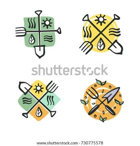 Handdrawn Logo Family Farm Set Element Stock Illustration - Royalty