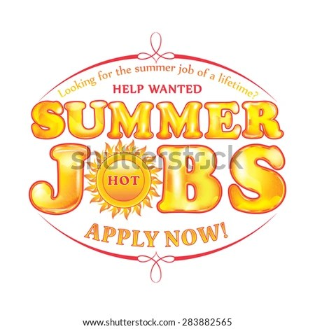 Royalty Free Stock Illustration of Help Wanted Apply Now Summer Jobs