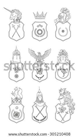 Royalty Free Stock Illustration of Heraldry Emblem Collection Coat