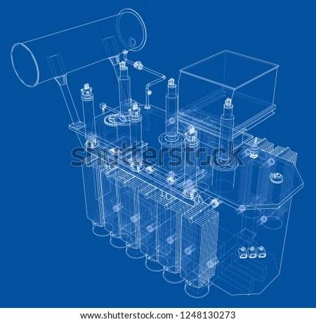 Highvoltage Transformer Concept 3 D Illustration Wireframe Stock