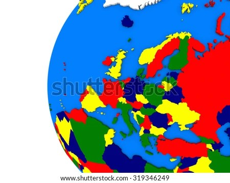 Illustration European Continent On Political Globe Stock