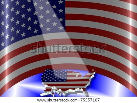 Illustration USA Flag Semi Circle Position Stock Illustration