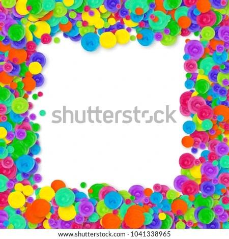 Kids Confetti On White Background Rainbow Stock Illustration