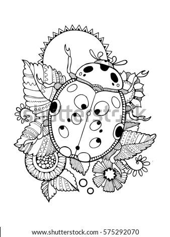 Ladybug Coloring Book Raster Illustration Antistress Stock