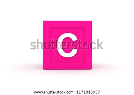 Letter C Uppercase Pink Color Block Stock Illustration