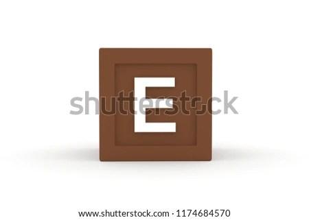 Letter E Uppercase Brown Color Block Stock Illustration - Royalty