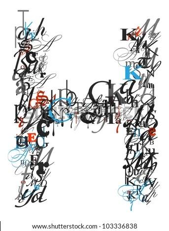 Letter H Alphabet Different Font Letters Stock Illustration