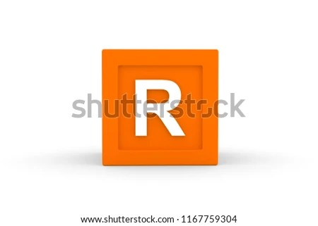 Letter R Uppercase Orange Color Block Stock Illustration 1167759304