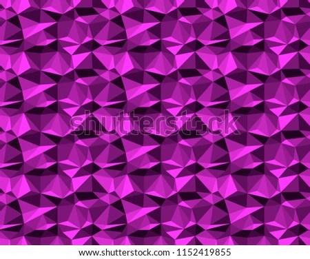 Magenta On Black Geometric Facet Pattern Stock Illustration