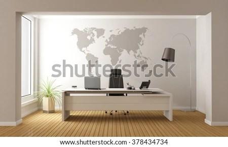 Minimalist Office Desk World Map On Stock Illustration - Royalty
