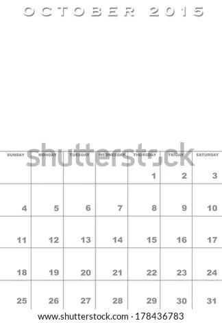 Month October 2015 Calendar Template Background Stock Illustration