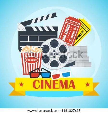 Movie Poster Template Cinema Flat Cartoon Stock Illustration
