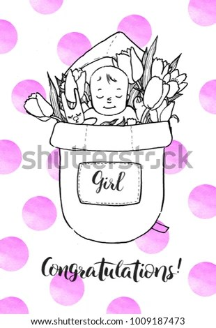 Royalty Free Stock Illustration of Newborn Baby Girl Flowers