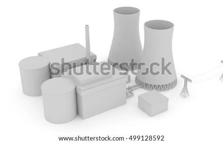Nuclear Power Plant 3 D Illustration Stock Illustration - Royalty
