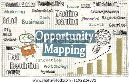 Opportunity Mapping Illustrated Words Robot Graph Stock Illustration