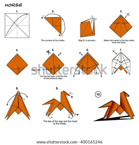 Origami Animal Traditional Horse Diagram Instructions Stock
