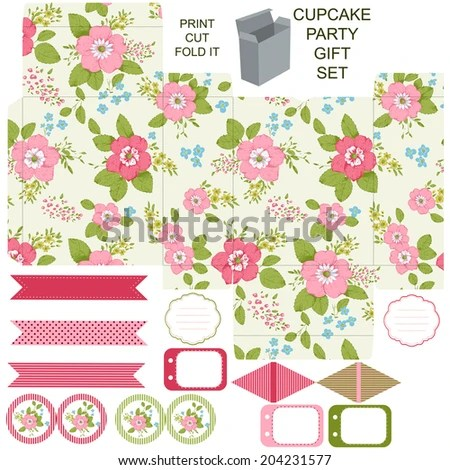 Royalty Free Stock Illustration of Party Set Gift Box Template