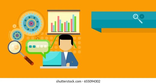 Performance Analysis Banner Person Working Laptop Stock Vector