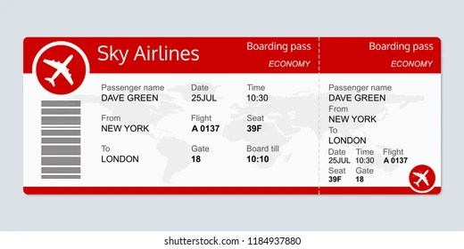 Plane Ticket Template Airplane Flight Ticket Stock Illustration