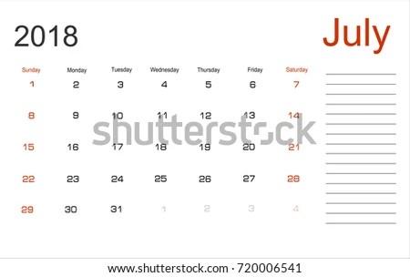 Planning Calendar July 2018 Monthly Scheduler Stock Illustration