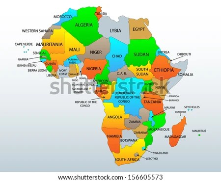 Political Location Map African Continent Countries Stock