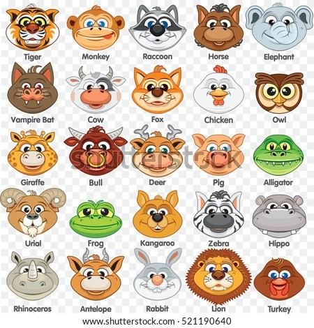 Printable Animal Masks Template Cutout Paper Stock Illustration