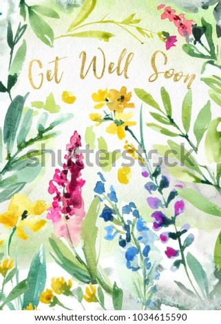 Printable Get Well Soon Watercolor Flower Stock Illustration