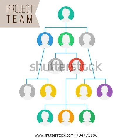 Project Team Organization Chart Colleagues Working Stock