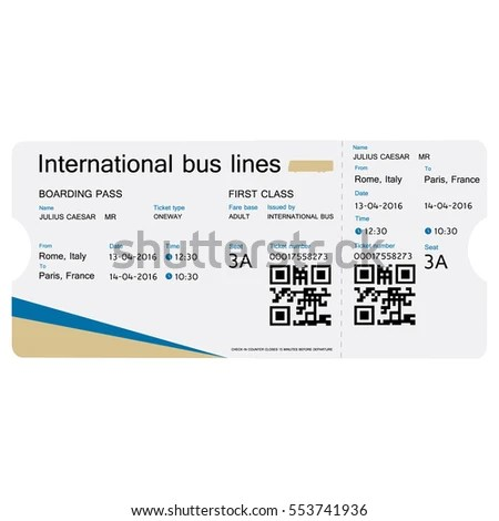 Raster Illustration Bus Ticket Template Design Stock Illustration