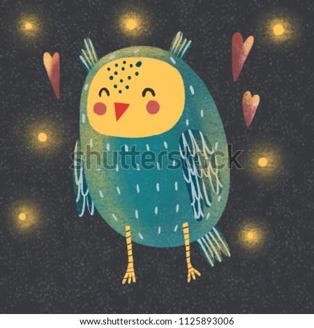 Raster Illustration Cute Owl Heart Starry Stock Illustration