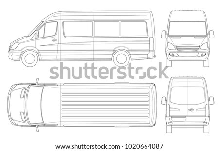 Royalty Free Stock Illustration of Realistic Van Template Outline