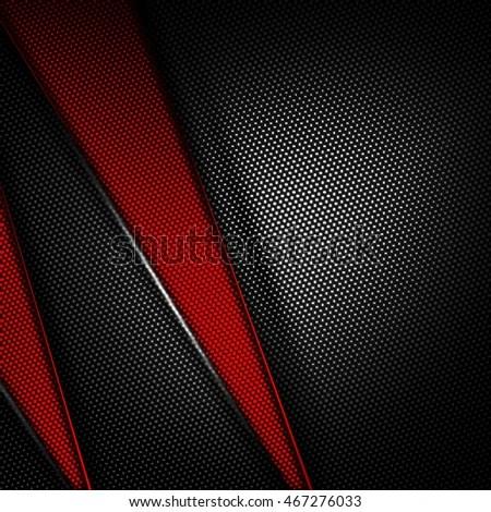 Red Black Carbon Fiber Background 3 D Stock Illustration - Royalty