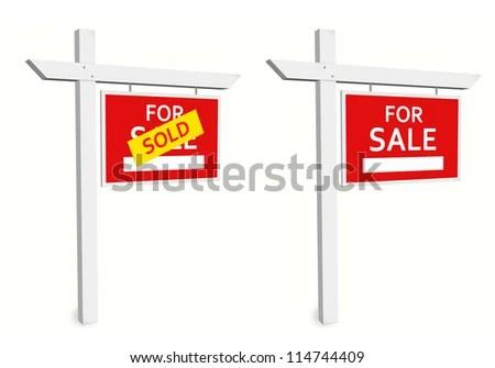 Sale Sign Sold Sign Communication Marketing Stock Illustration