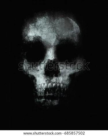 Scary Skull Wallpaper Halloween Background Spooky Stock Illustration