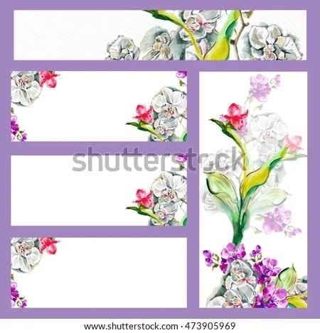 Set Forms Congratulations Invitations Menu Exotic Stock Illustration